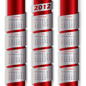 2012 calendar with metallic ribbons — Stock Vector