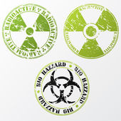 Bio hazard and radioactive stamp set — Stock Vector