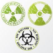 Bio hazard and radioactive stamp set — Stock Vector