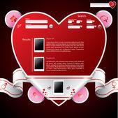 Pásky zabalené srdce tvar webové stránky šablona — Stock vektor