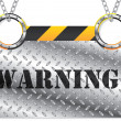 Metallic warning sign — Stock Vector