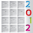 2012 calendar with months inside boxes — Stock Vector
