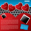 Website template design with hanging heart labels — Stock Vector