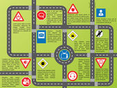 Info graphic with roads and stylish signs — Stock Vector