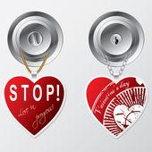 Harten opknoping op deurknop — Stockvector
