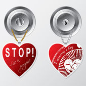 Kapı kolu üzerinde asılı kalpler — Stok Vektör