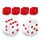 Red and white dice set — Stock Vector