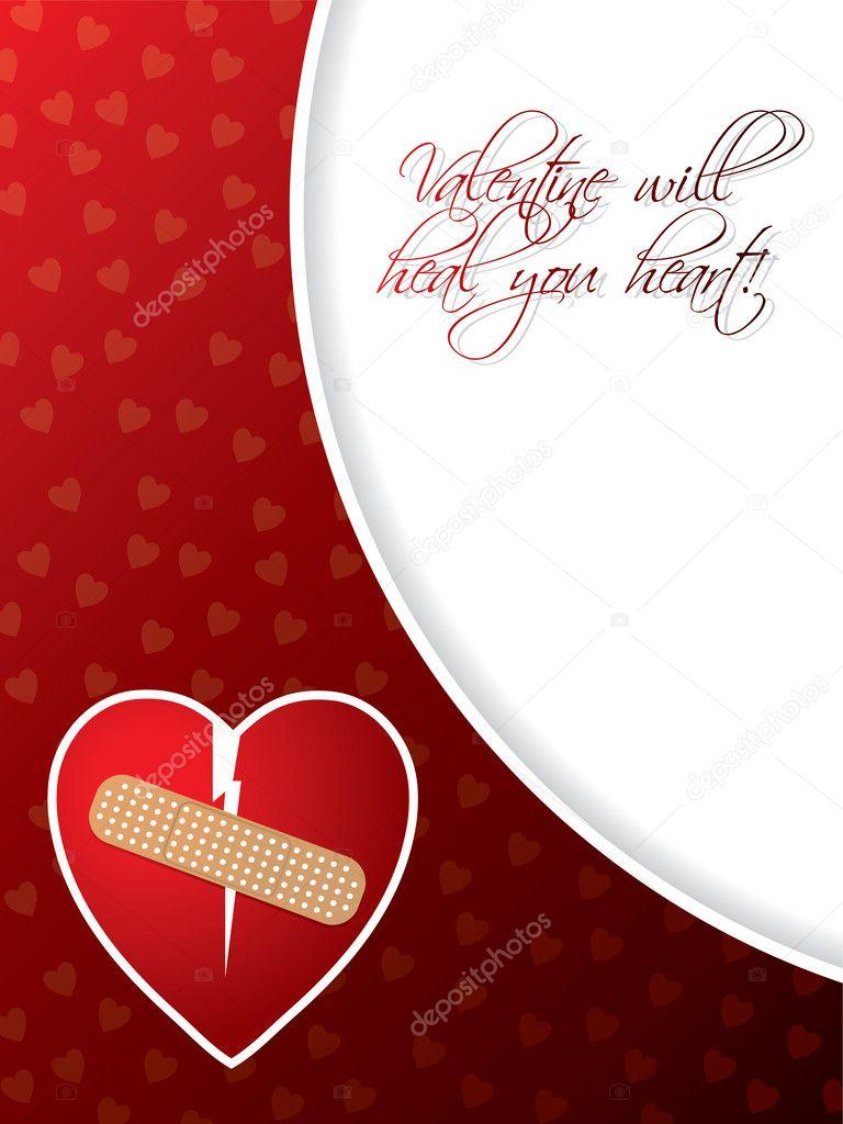 carte de voeux saint valentin avec c ur bris image vectorielle vipervxw 8783929. Black Bedroom Furniture Sets. Home Design Ideas