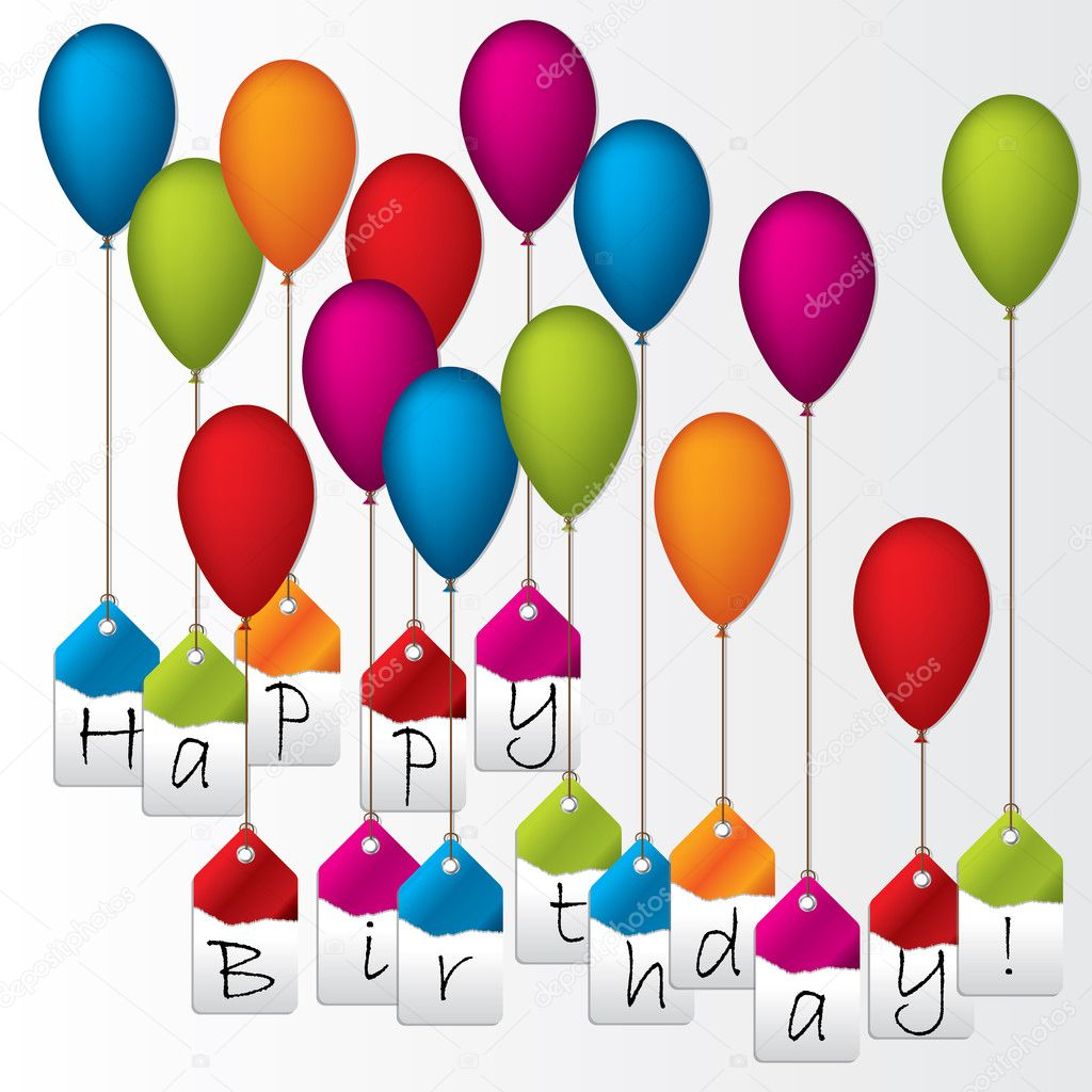 Happy birthday labels hanging on color balloons — Stock Vector