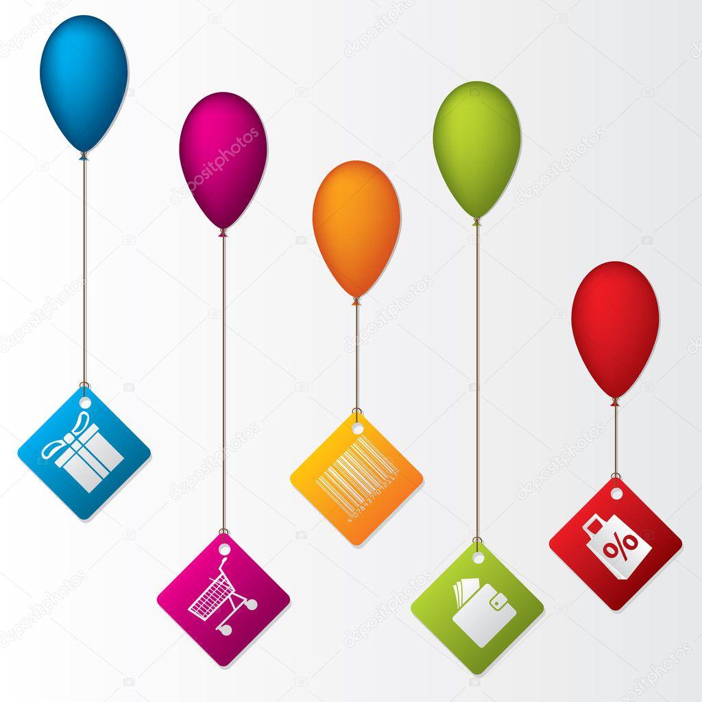 etiketten h ngen luftballons stockvektor 9844419. Black Bedroom Furniture Sets. Home Design Ideas