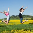Girls jump — Stock Photo