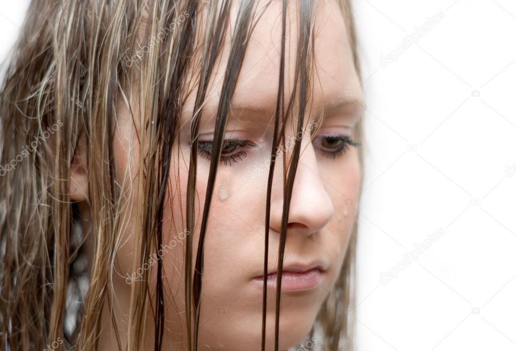 Portrait of the unnerved girl which weep — Stock Photo #10447618
