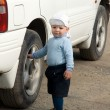 Boy and car — Stock Photo