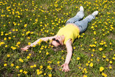 Woman on a meadow — Stock Photo