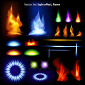 Vector set: light effect, flame — Vettoriale Stock