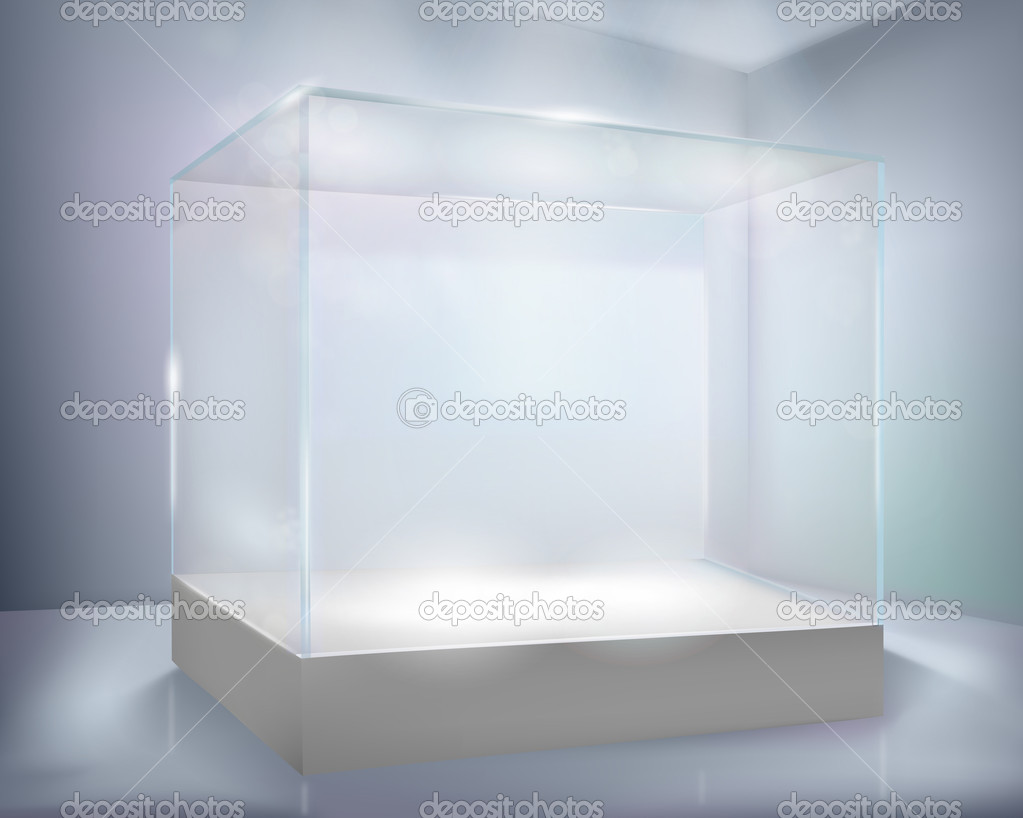 Empty display case of shop. Vector illustration.  Stock Vector #9543308