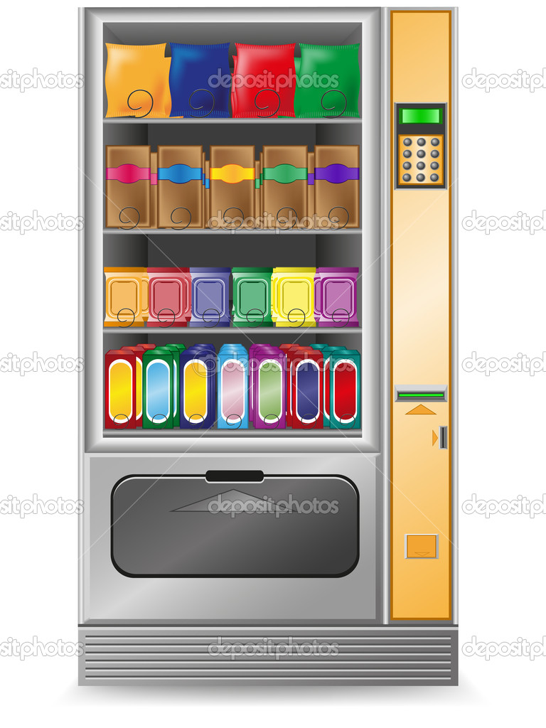 Vending snack is a machine vector illustration isolated on white background — Stock Vector #8736886