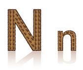 письмо n производится зерна кофе векторные иллюстрации — Cтоковый вектор