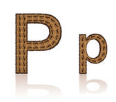 Letter P is made grains of coffee vector illustration — Stock Vector