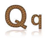 Lettera q fatta di granelli di illustrazione vettoriale caffè — Vettoriale Stock