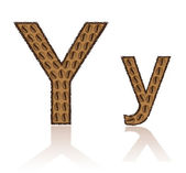 Letter Y is made grains of coffee vector illustration — Stock Vector
