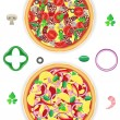 Pizza and components vector illustration - Stock Vector