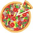Pizza and cut piece vector illustration - Stock Vector