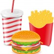 Stock Vector: Cheeseburger fries potato and paper cup with soda