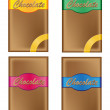 Stock Vector: Chocolate in packing with coloured labels