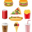 Set icons of fast food vector illustration — 图库矢量图片
