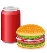 Hamburger and aluminum cans with soda — Stock Vector