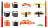 Sushi set ikony vektorové ilustrace — Stock vektor