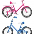 Pink and blue kids bicycle vector illustration — Stock Vector