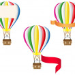 Hot air balloon and blank banner vector illustration — Stock Vector