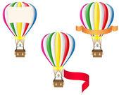 Hot air balloon and blank banner vector illustration — Stock Vector