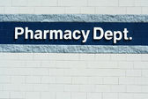Pharmacy Dept sign — Stock Photo