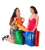 Girls enjoying shopping — Stock Photo