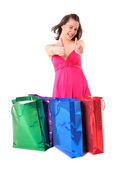Funny girl with shopping bags — 图库照片