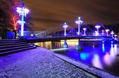 Night bridge in Turku — Stock Photo
