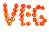 "The word ""VEG"" made of cherry tomatoes — Stockfoto"