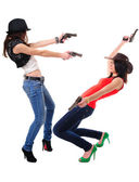 Girls with guns — Stock Photo