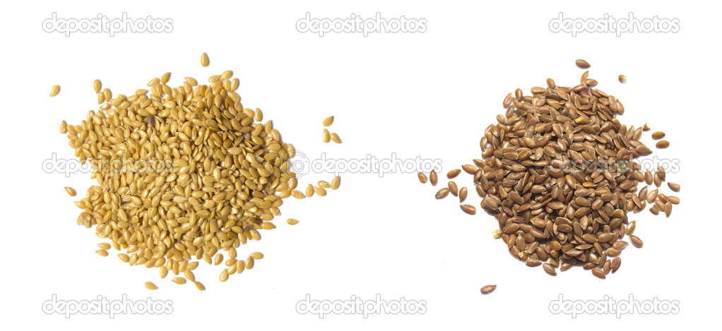 Flax seed set; Golden and Brown. Isolated on white — Stock Photo #10031683