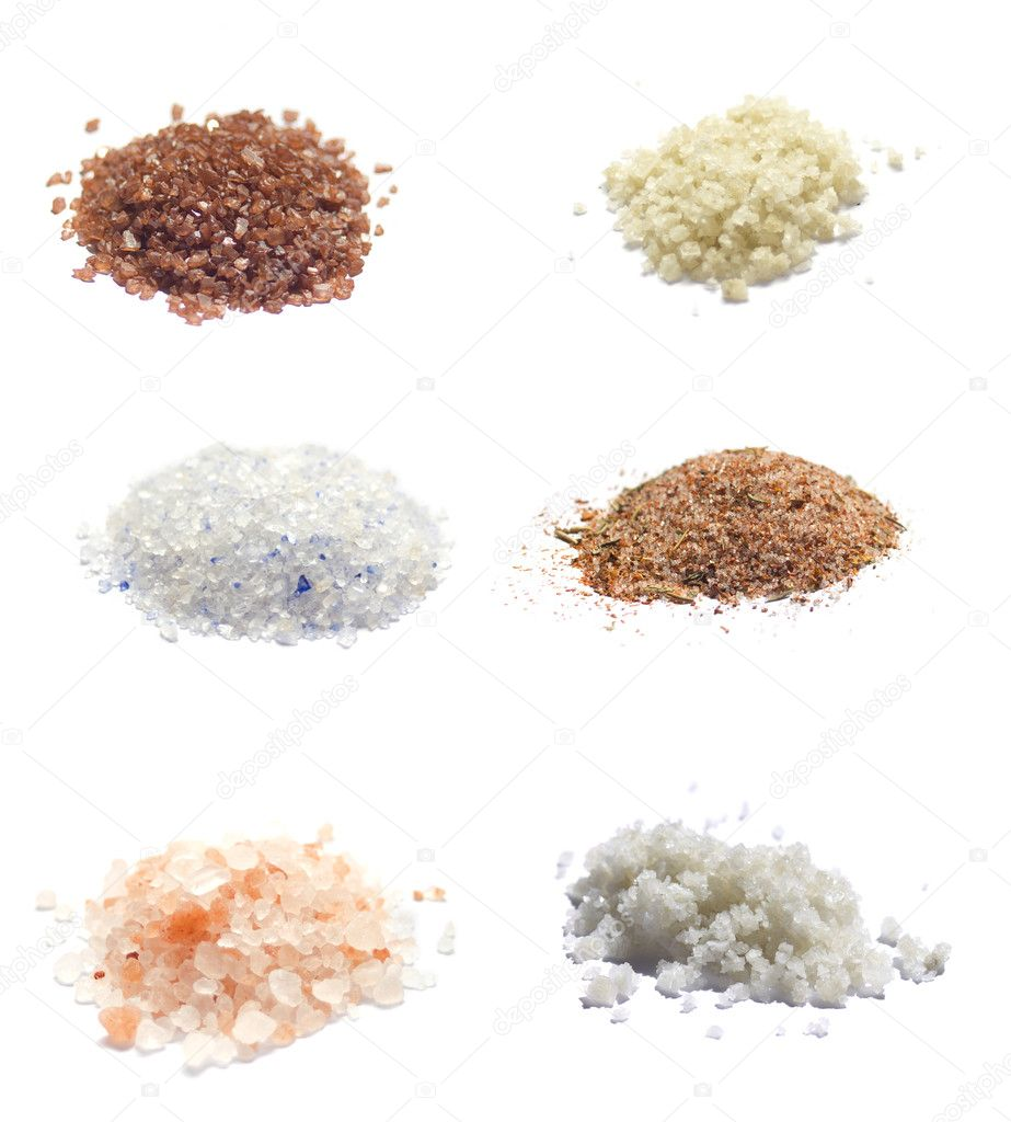 Sea Salt on white collection : Red hawaiian, Grey, Himalayan, Blue Persian, Camargue, Spice Rub — Stock Photo #10031687