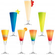 Collection of vector cocktails — Imagens vectoriais em stock