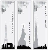 Collection of vector vertical banners of cities — Stock Vector