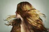 Portrait of young beautiful woman with long flowing hair — Stock Photo