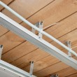 Stock Photo: New electrical wiring in suspended ceiling