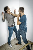 Attacked by a man — Stock Photo