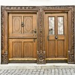 Wooden doors in Ulm Germany — Stock Photo