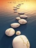 Step stones sunset — Stock Photo